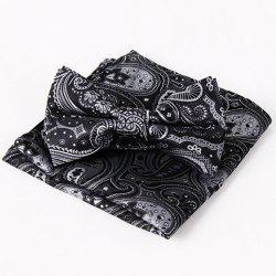 Stylish Ethnic Paisley Jacquard Black Bow Tie and Handkerchief For Men - BLACK