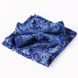 Stylish Royalblue Arabesque Jacquard Bow Tie and Handkerchief For Men