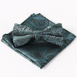 Stylish Ethnic Jacquard Blackish Green Bow Tie and Handkerchief For Men