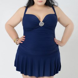 Padded Plus Size Skirted One Piece Swimsuit