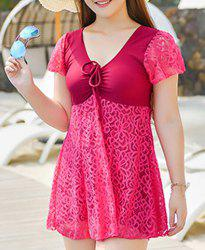 Stylish Solid Color Lace Spliced One-Piece Dress Swimwear For Women