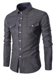Turn-Down Collar Pockets Design Embroidery Long Sleeve Denim Shirt For Men -