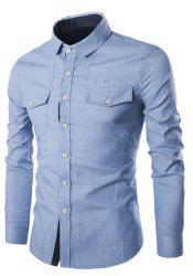 Turn-Down Collar Pockets Design Embroidery Long Sleeve Denim Shirt For Men