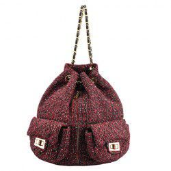 Leisure Double Pocket and Colour Matching Design Backpack For Women - WINE RED