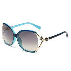 Chic Flower Shape and Hollow Out Embellished Polarized Sunglasses - BLUE AND BLACK