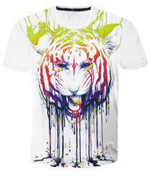 Round Neck 3D Pigment Tiger Printed Color Block Short Sleeve T-Shirt For Men - WHITE