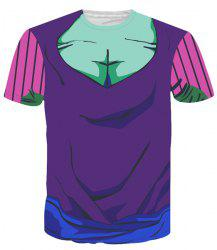 Round Neck Color Block 3D Cartoon Costume Printed Slimming Short Sleeve T-Shirt For Men -