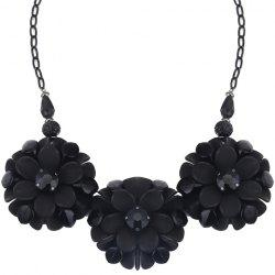 Alloy Faux Crystals Flowers Pendant Necklace -