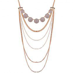 Alloy Multilayer Coin Glitter Powder Pendant Necklace