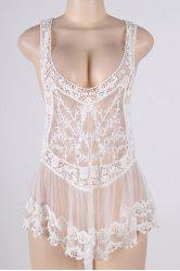 Crochet Sheer Lace Short Swimsuit Cover-Up Dress