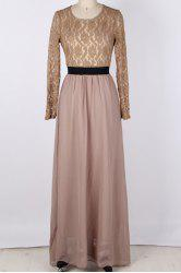 Maxi Lace Panel Formal Evening Dress with Sleeves - KHAKI XL