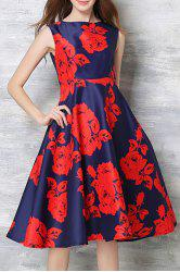 Vintage Round Collar Sleeveless Floral Print High-Waisted Dress For Women - RED S