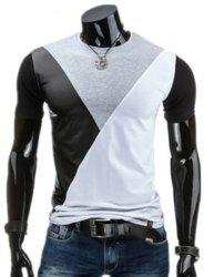 Round Neck PU-Leather Spliced Design Short Sleeve T-Shirt For Men -