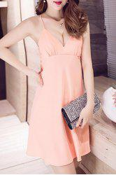 Attractive Spaghetti Strap Loose-Fitting Women's Mini Backless Dress -