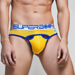 Cool Hollow Out Letters Print Low Waist U Convex Pouch Briefs For Men