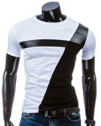 Round Neck PU-Leather Splicing Design Short Sleeve T-Shirt For Men - WHITE