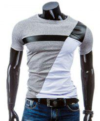 Round Neck PU-Leather Splicing Design Short Sleeve T-Shirt For Men - LIGHT GRAY