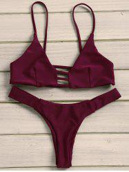Strappy Tanga Bikini Set - WINE RED L