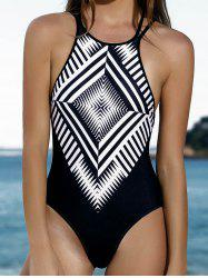 Women Stylish Jewel Neck Geometric Pattern One-Piece Swimsuit - BLACK