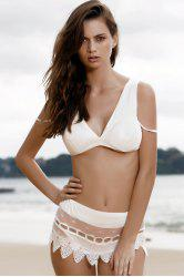 Stylish Cami Lace Spliced Women's Bikini Set