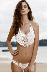 Stylish Cami Tassels Crocheted Women's Bikini Set