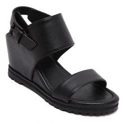 Stylish Wedge Heel and Black Color Design Sandals For Women -