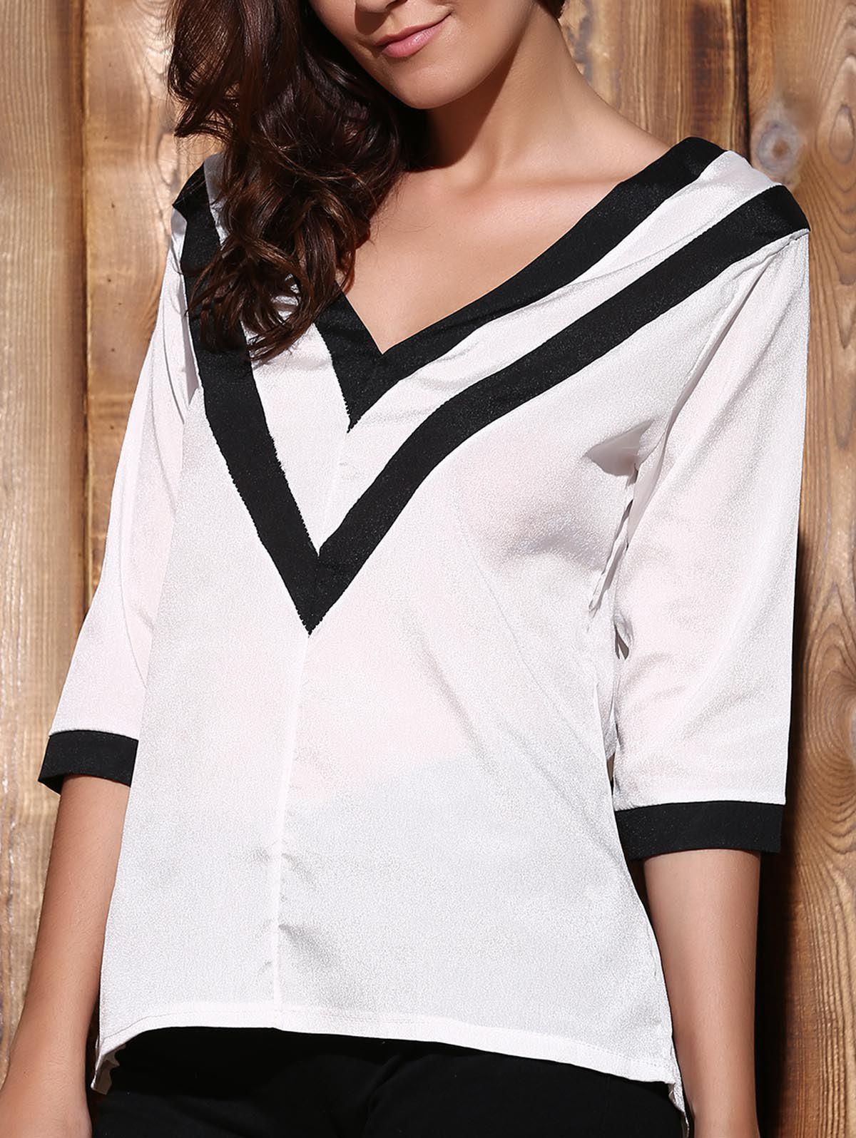 Trendy Trendy Plunging Neck 3/4 Sleeve Striped Loose-Fitting T-Shirt For Women