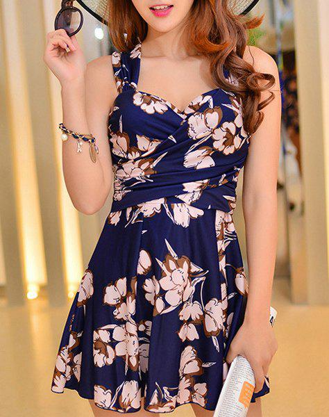 Floral Print Skirted One Piece SwimsuitWOMEN<br><br>Size: XL; Color: DEEP BLUE; Swimwear Type: One Piece; Gender: For Women; Material: Polyester; Bra Style: Padded; Support Type: Underwire; Neckline: Spaghetti Straps; Pattern Type: Floral; Embellishment: Pleated; Waist: Natural; Elasticity: Micro-elastic; Weight: 0.345kg; Package Contents: 1 x Swimwear;