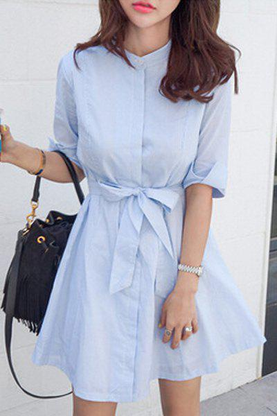 Fashion Belted A Line Striped Casual Shirt Dress