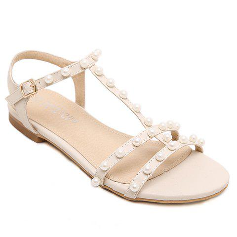 Sweet Faux Pearls T-Strap Design Sandals Women 39