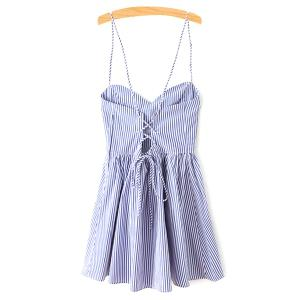 Spaghetti Strap Sleeveless Striped Mini Skater Dress