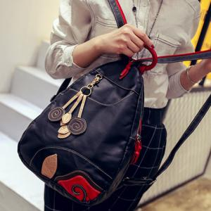 Fashionable Color Block and Leaf Pattern Design Backpack For Women -
