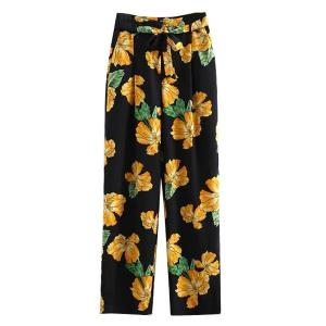 Elegant Printed Wide Leg Women's Palazzo Pants - Black - L