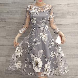 Flower Print Midi Organza Dress - Light Gray - 2xl
