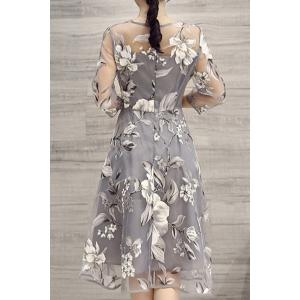 Flower Print Midi Organza Dress - LIGHT GRAY XL