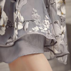 Flower Print Midi Organza Dress - LIGHT GRAY S