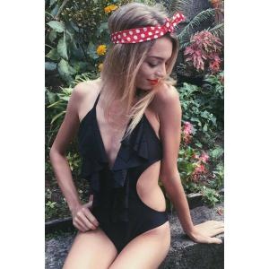 Plunging Neck Bathing Suit with Ruffles -