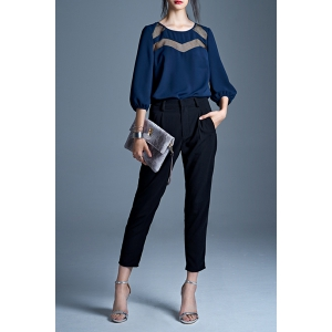 Trendy Black High Waist Women's Ankle Pants