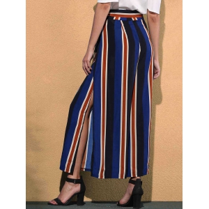 Stiped Wide Leg Palazzo Pants With Slits - COLORMIX M