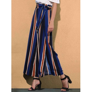 Stiped Wide Leg Palazzo Pants With Slits -