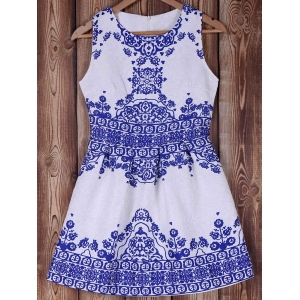Elegant Blue and White Porcelain Printed Summer Dress For Women