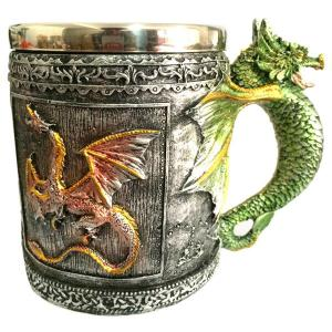 350ML Retro Style Office Drinking Cup Dragon Embellished Stainless Steel Mug -