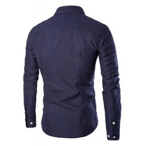 Turn-Down Collar Wrinkle Design Polka Dot Long Sleeve Shirt For Men - CADETBLUE L