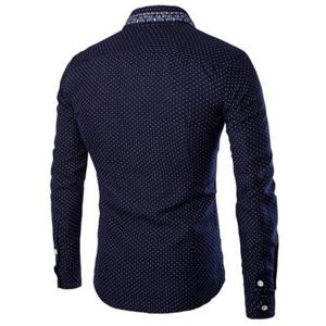 Turn-Down Collar Flower Print Polka Dot Long Sleeve Shirt For Men - DEEP BLUE M