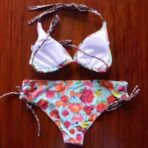 Endearing Halter Floral Printed Bikini For Women -