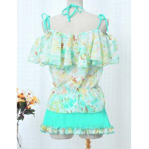 Sweet Short Sleeves Floral Print  Flouncing Four-Piece Bikini Set For Women