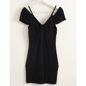 Fashionable Plunging Neck Short Sleeve Solid Color Skinny Women's Dress -