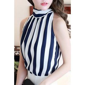Chic Stand Collar Sleeveless Striped Self-Tie Chiffon Blouse For Women -
