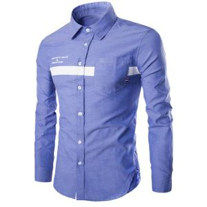 Turn-Down Collar Stripe and Letters Print Long Sleeve Shirt For Men