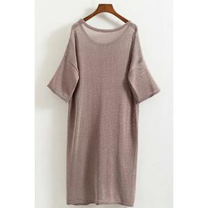 Leisure Style Scoop Neck Half Sleeve Solid Color Pocket Knitted Dress For Women -